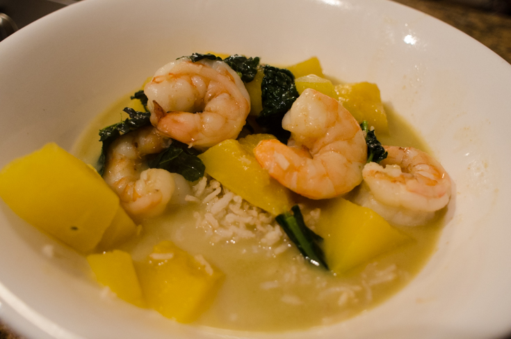 green curry with pumpkin and prawns